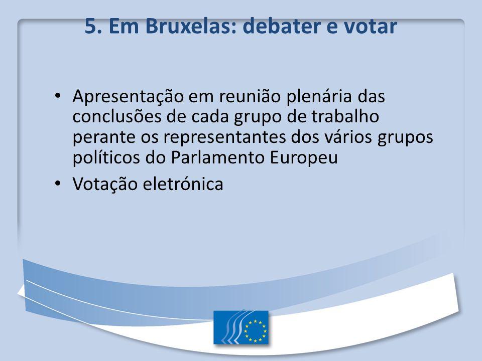 5. Em Bruxelas: debater e votar Apresentação em reunião plenária das conclusões de cada grupo de trabalho perante os representantes dos vários grupos