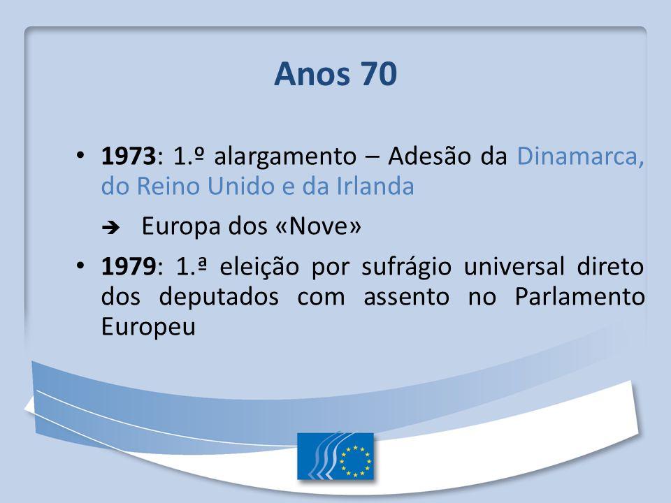 Anos 70 1973: 1.º alargamento – Adesão da Dinamarca, do Reino Unido e da Irlanda Europa dos «Nove» 1979: 1.ª eleição por sufrágio universal direto dos