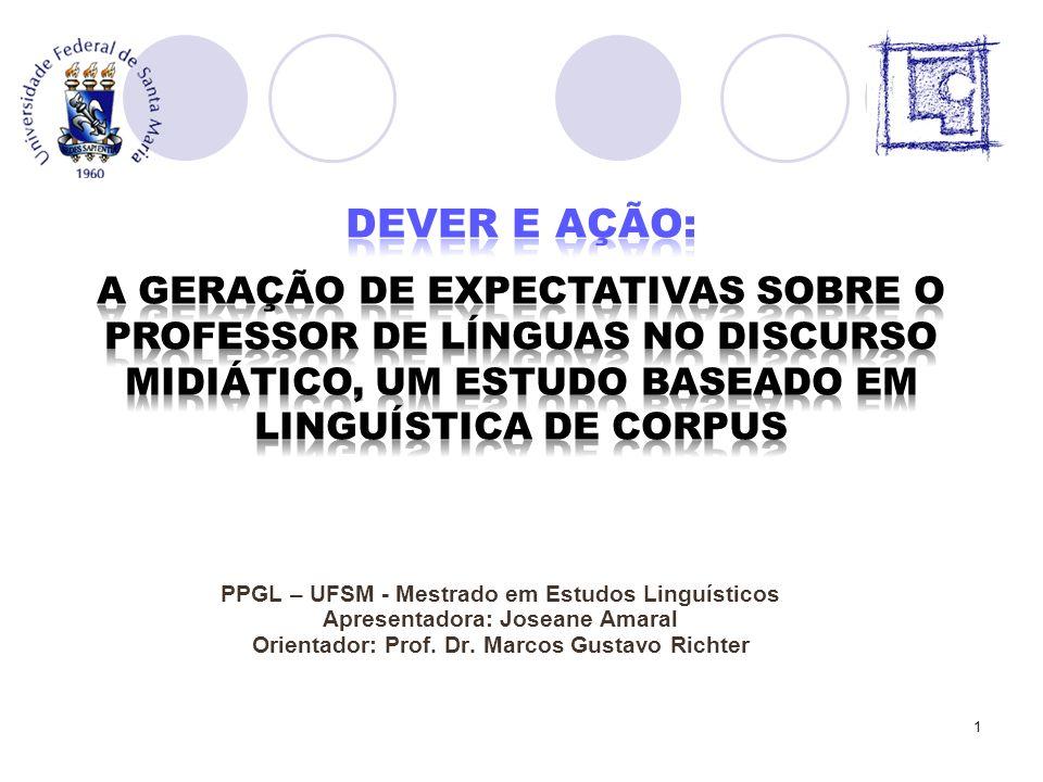 PPGL – UFSM - Mestrado em Estudos Linguísticos Apresentadora: Joseane Amaral Orientador: Prof. Dr. Marcos Gustavo Richter 1