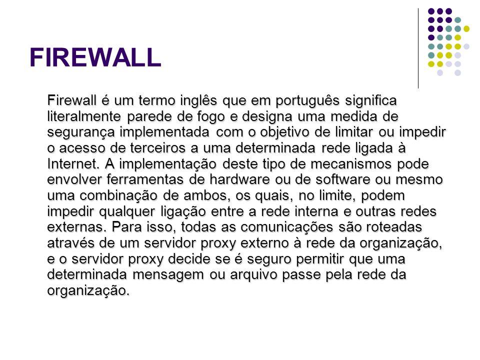 FIREWALL Firewall é um termo inglês que em português significa literalmente parede de fogo e designa uma medida de segurança implementada com o objeti