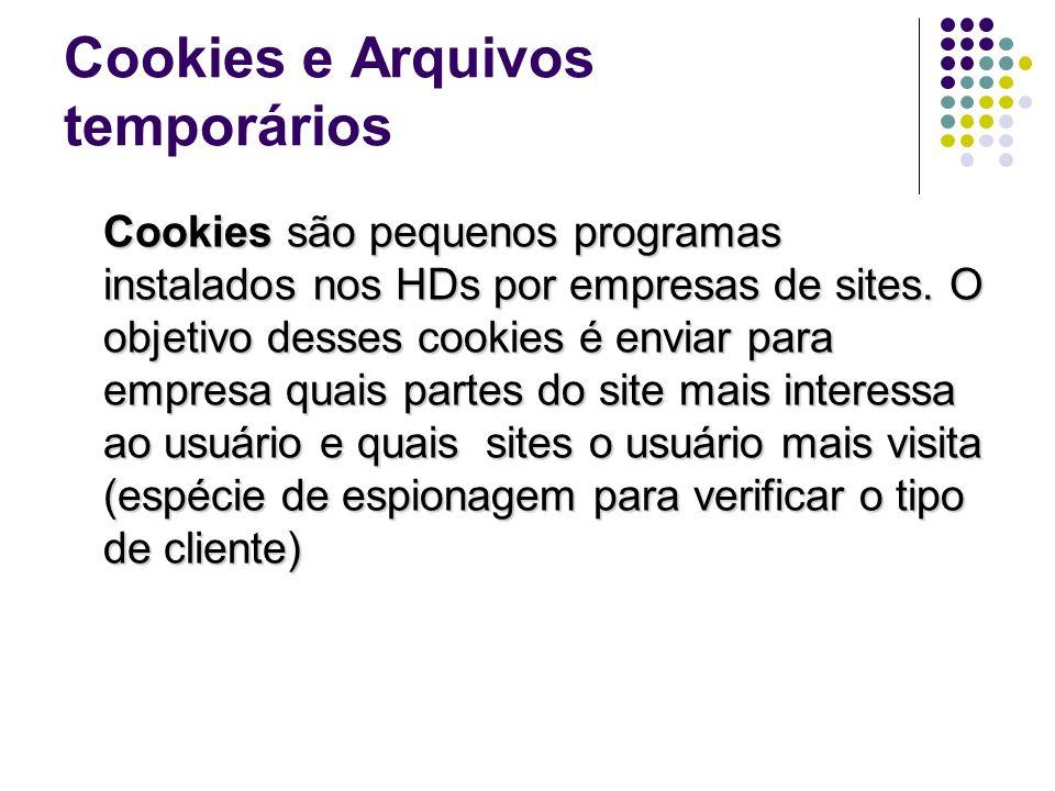 Cookies e Arquivos temporários Cookies são pequenos programas instalados nos HDs por empresas de sites. O objetivo desses cookies é enviar para empres