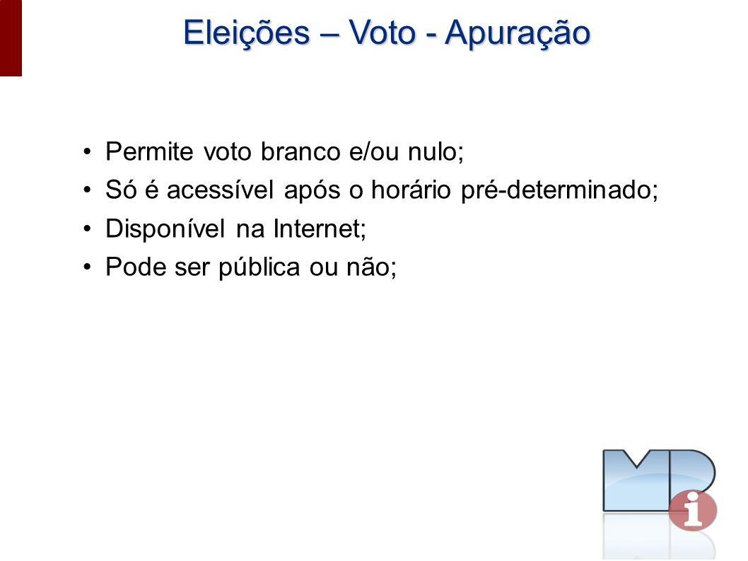 Eleições – Voto - Apuração Permite voto branco e/ou nulo; Só é acessível após o horário pré-determinado; Disponível na Internet; Pode ser pública ou não;