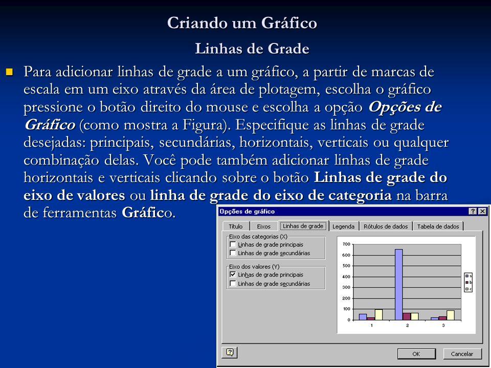 12 Criando um Gráfico Para adicionar linhas de grade a um gráfico, a partir de marcas de escala em um eixo através da área de plotagem, escolha o gráf