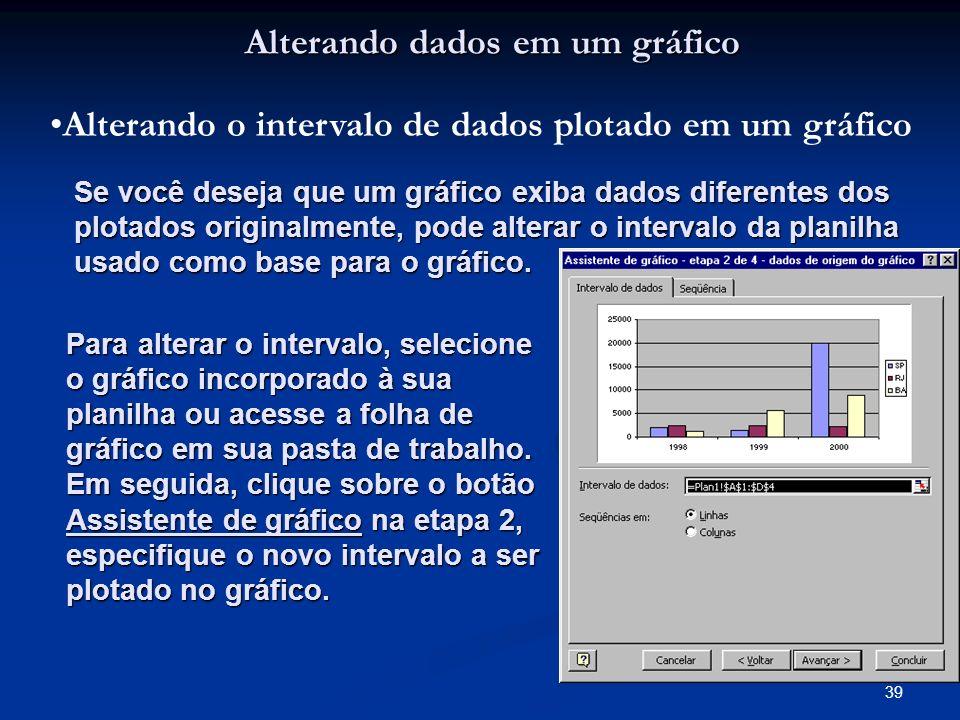 39 Alterando dados em um gráfico Alterando o intervalo de dados plotado em um gráfico Se você deseja que um gráfico exiba dados diferentes dos plotado