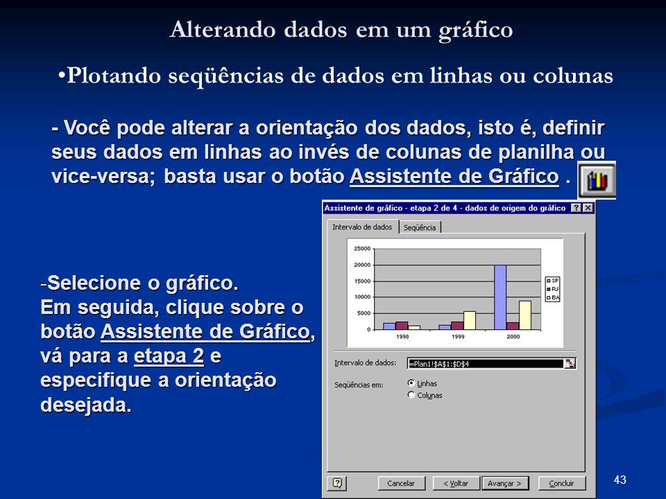 43 Alterando dados em um gráfico Plotando seqüências de dados em linhas ou colunas - Você pode alterar a orientação dos dados, isto é, definir seus da