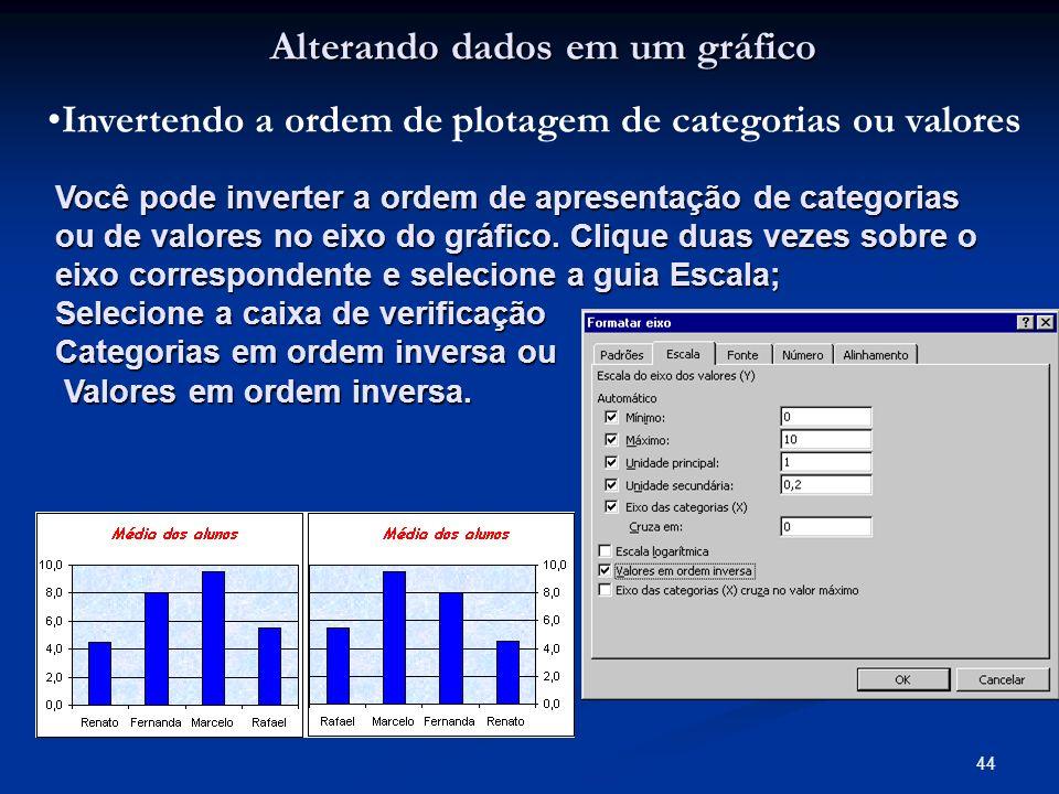 44 Alterando dados em um gráfico Invertendo a ordem de plotagem de categorias ou valores Você pode inverter a ordem de apresentação de categorias ou d