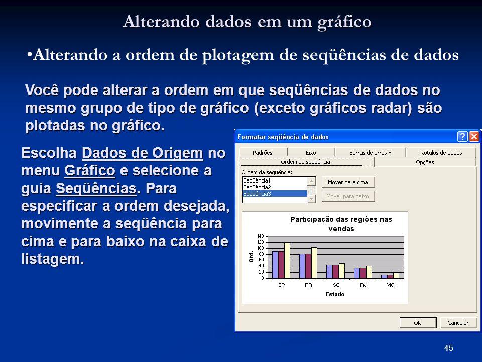 45 Alterando dados em um gráfico Alterando a ordem de plotagem de seqüências de dados Você pode alterar a ordem em que seqüências de dados no mesmo gr