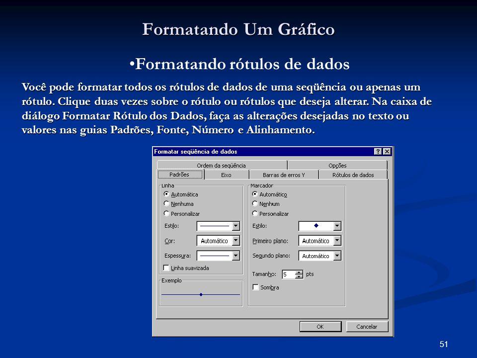 51 Formatando Um Gráfico Formatando rótulos de dados Você pode formatar todos os rótulos de dados de uma seqüência ou apenas um rótulo. Clique duas ve