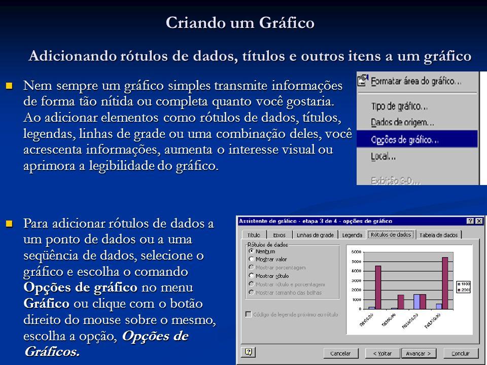 9 Criando um Gráfico Nem sempre um gráfico simples transmite informações de forma tão nítida ou completa quanto você gostaria. Ao adicionar elementos