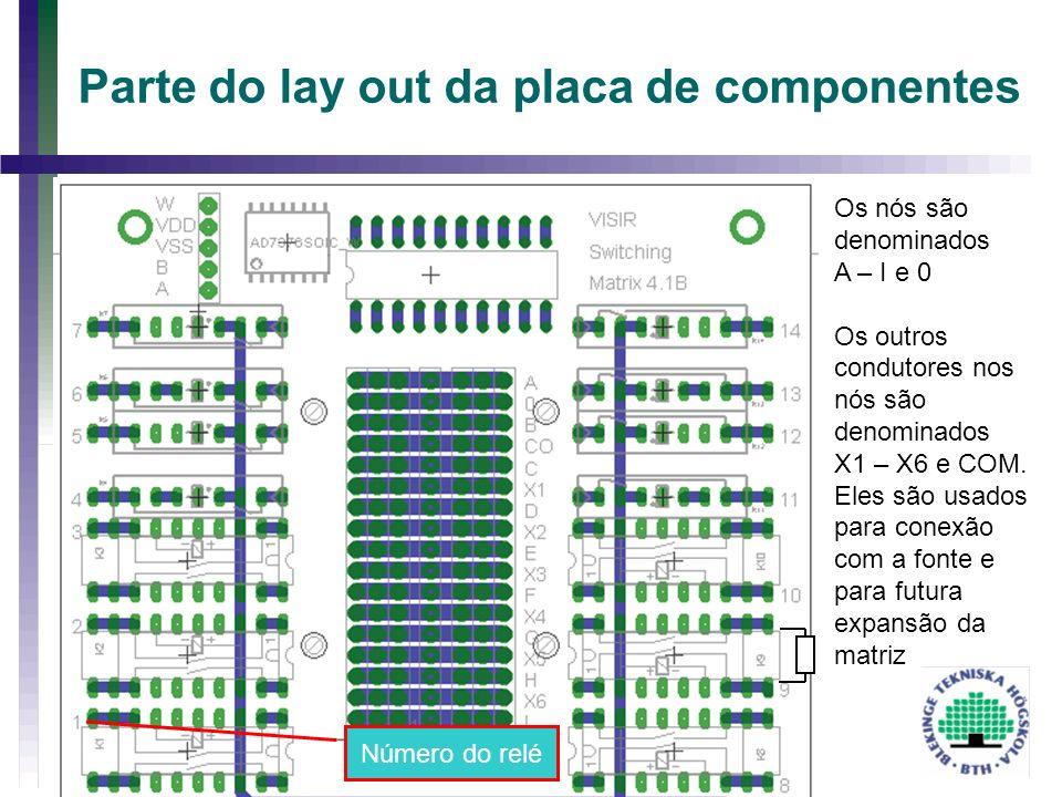 Parte do lay out da placa de componentes Os nós são denominados A – I e 0 Os outros condutores nos nós são denominados X1 – X6 e COM. Eles são usados