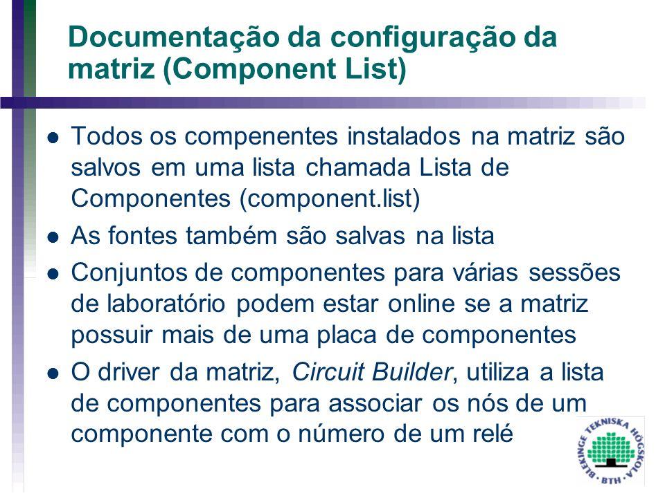 Documentação da configuração da matriz (Component List) Todos os compenentes instalados na matriz são salvos em uma lista chamada Lista de Componentes