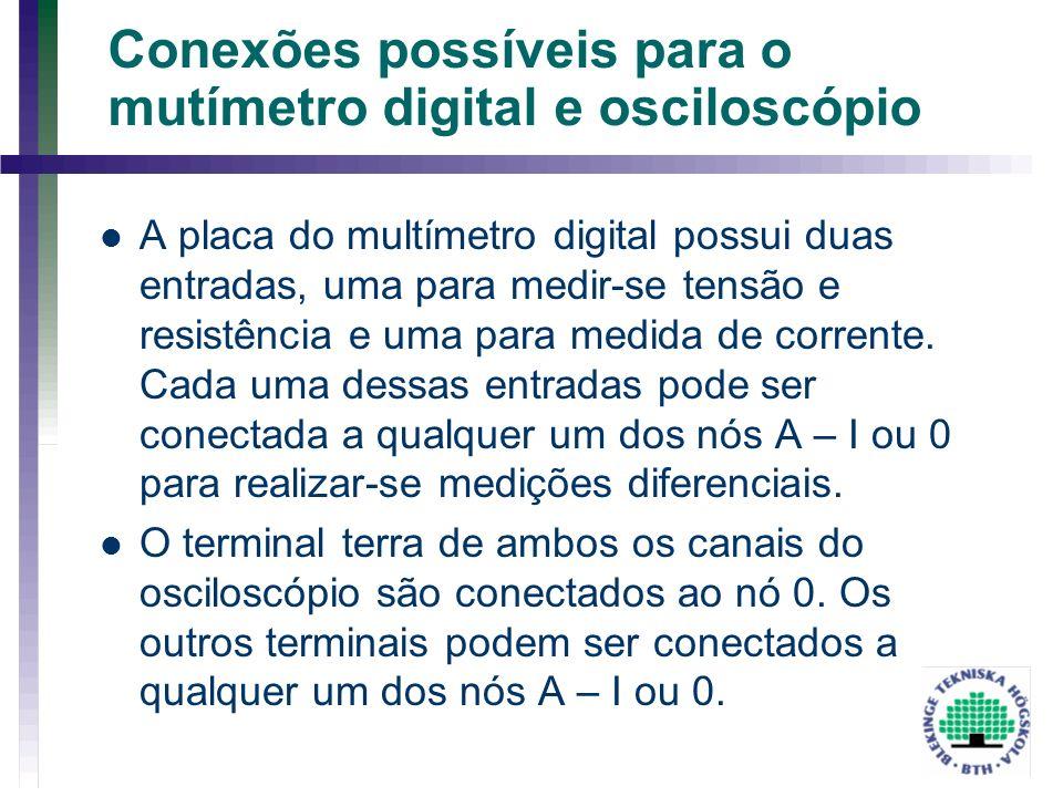 Conexões possíveis para o mutímetro digital e osciloscópio A placa do multímetro digital possui duas entradas, uma para medir-se tensão e resistência