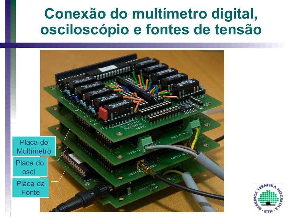 Conexão do multímetro digital, osciloscópio e fontes de tensão Placa da Fonte Placa do oscl. Placa do Multímetro