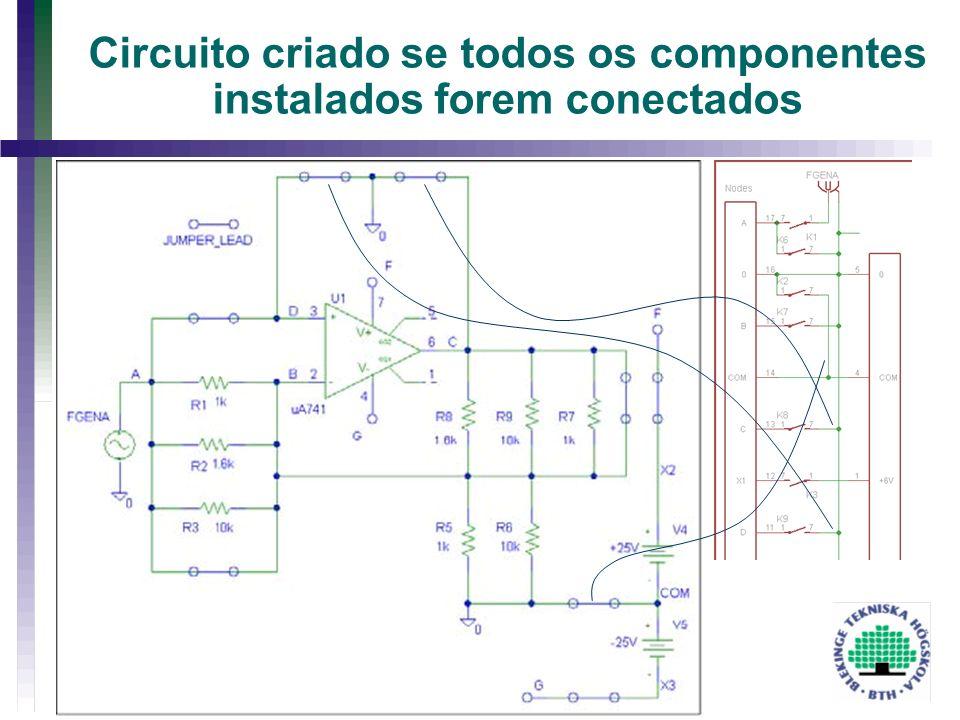 Circuito criado se todos os componentes instalados forem conectados