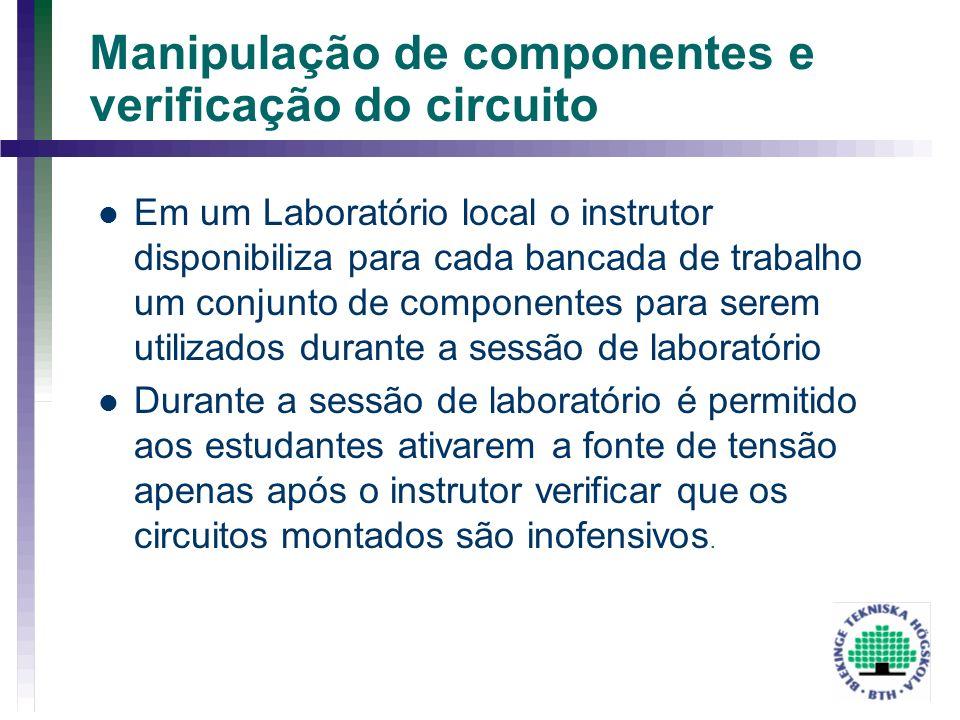 Manipulação de componentes e verificação do circuito Em um Laboratório local o instrutor disponibiliza para cada bancada de trabalho um conjunto de co