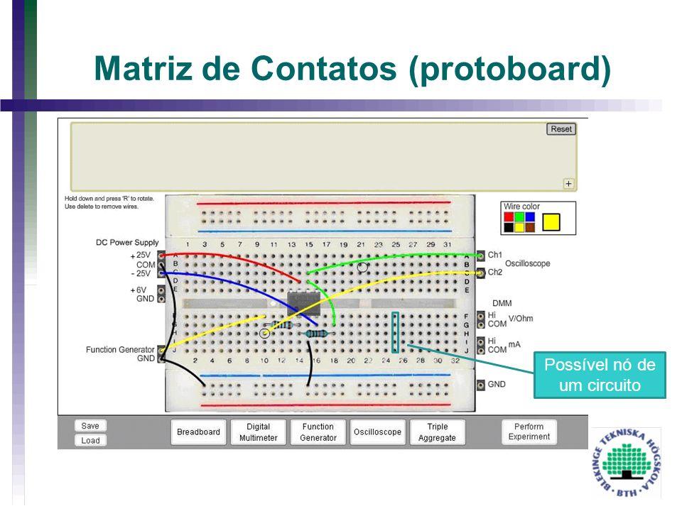 Matriz de Contatos (protoboard) Possível nó de um circuito