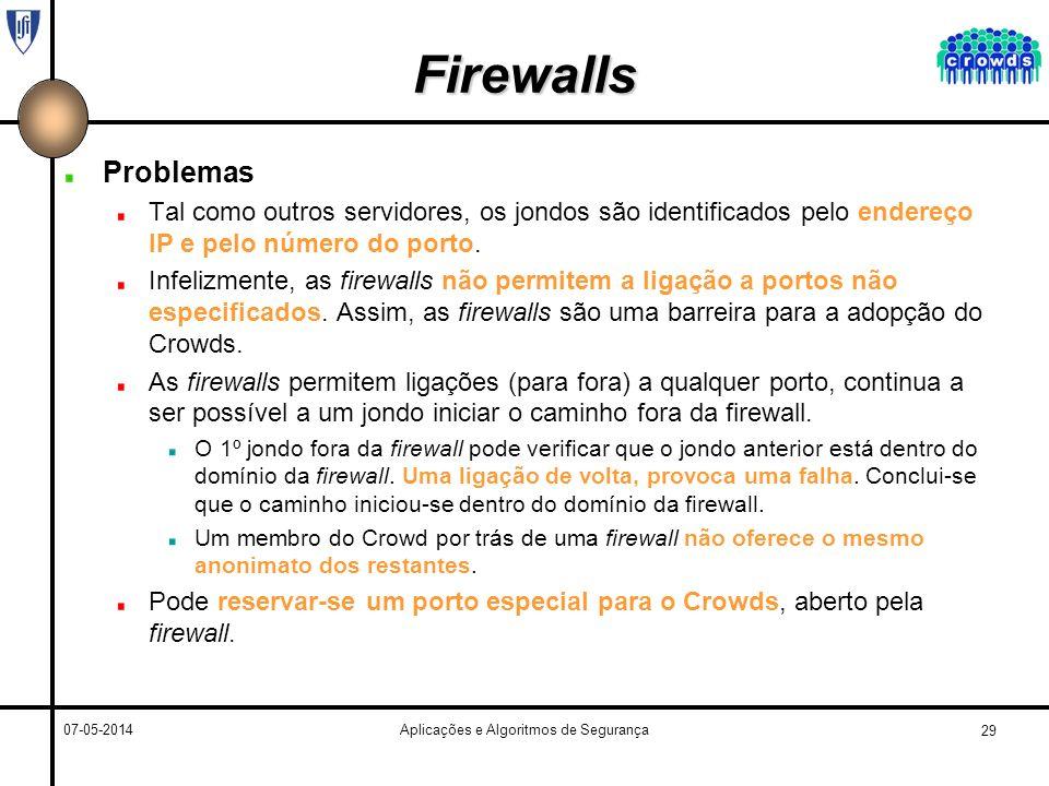 29 07-05-2014Aplicações e Algoritmos de Segurança Firewalls Problemas Tal como outros servidores, os jondos são identificados pelo endereço IP e pelo número do porto.