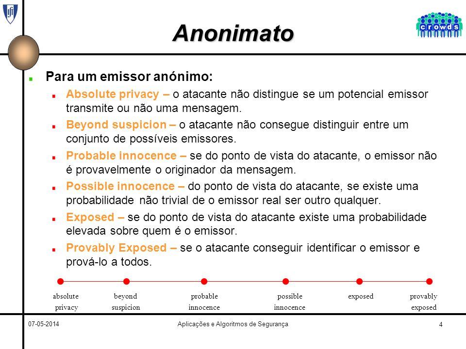 4 07-05-2014Aplicações e Algoritmos de Segurança Anonimato Para um emissor anónimo: Absolute privacy – o atacante não distingue se um potencial emissor transmite ou não uma mensagem.
