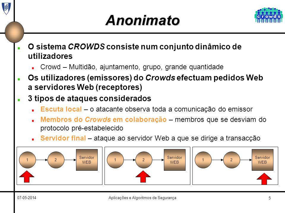 5 07-05-2014Aplicações e Algoritmos de Segurança Anonimato O sistema CROWDS consiste num conjunto dinâmico de utilizadores Crowd – Multidão, ajuntamento, grupo, grande quantidade Os utilizadores (emissores) do Crowds efectuam pedidos Web a servidores Web (receptores) 3 tipos de ataques considerados Escuta local – o atacante observa toda a comunicação do emissor Membros do Crowds em colaboração – membros que se desviam do protocolo pré-estabelecido Servidor final – ataque ao servidor Web a que se dirige a transacção 12 Servidor WEB 12 Servidor WEB 12 Servidor WEB