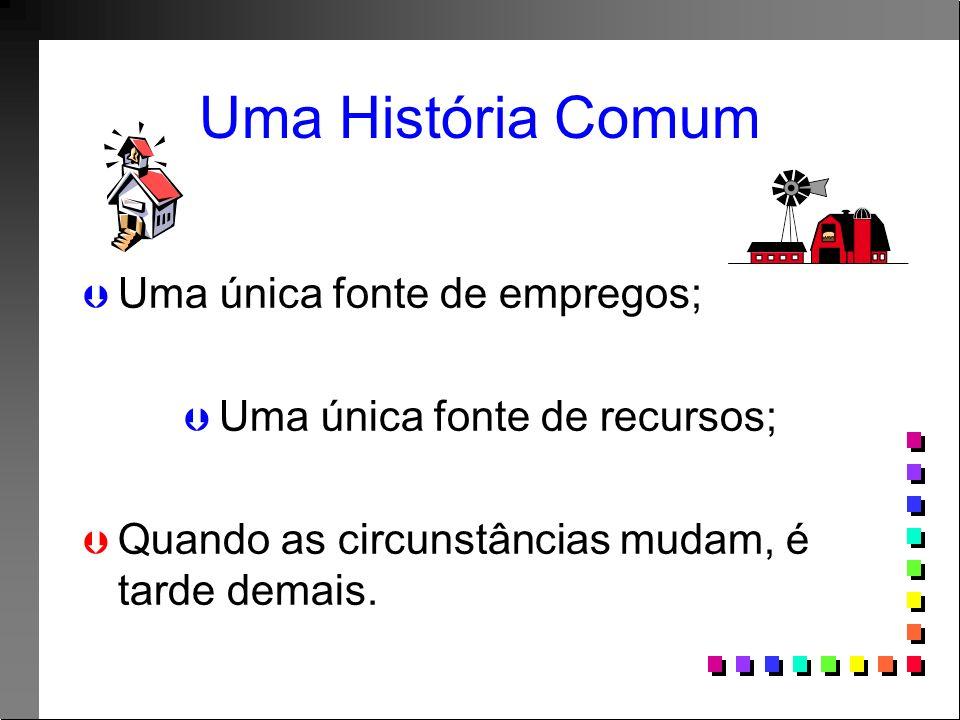 Uma História Comum Þ Þ Uma única fonte de empregos; Þ Þ Uma única fonte de recursos; Þ Þ Quando as circunstâncias mudam, é tarde demais.