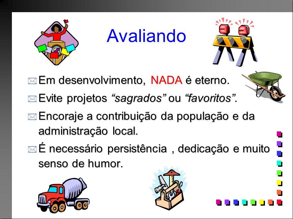 Avaliando * Em desenvolvimento, NADA é eterno. * Evite projetos sagrados ou favoritos.