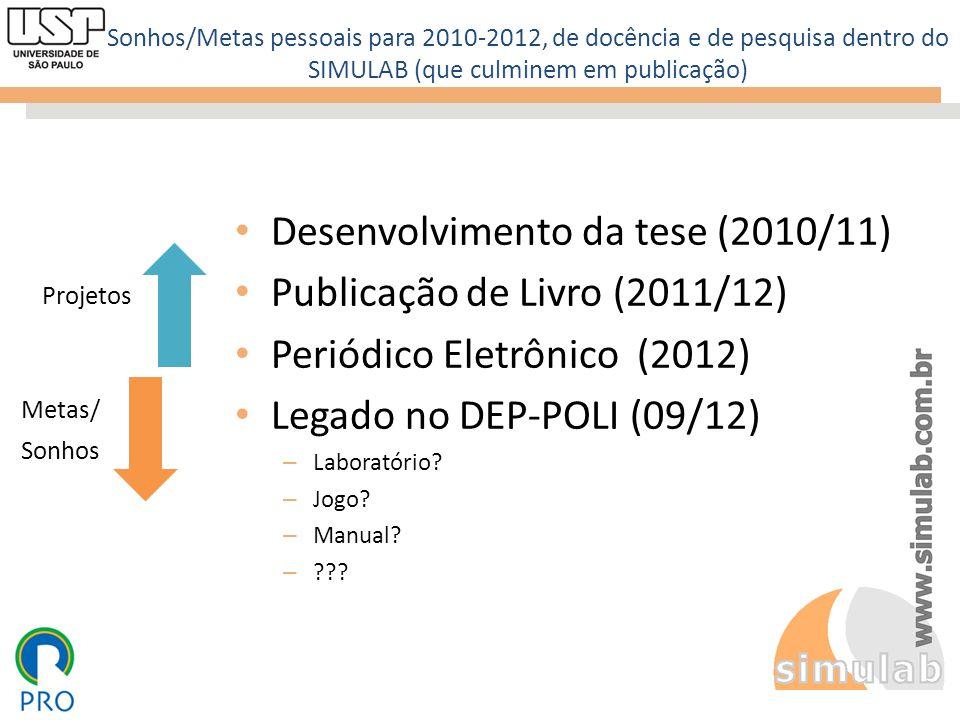 Sonhos/Metas pessoais para 2010-2012, de docência e de pesquisa dentro do SIMULAB (que culminem em publicação) Desenvolvimento da tese (2010/11) Publi
