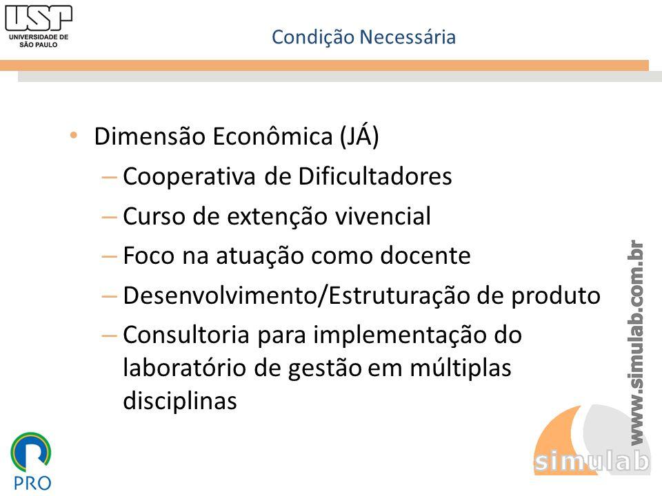 Condição Necessária Dimensão Econômica (JÁ) – Cooperativa de Dificultadores – Curso de extenção vivencial – Foco na atuação como docente – Desenvolvim