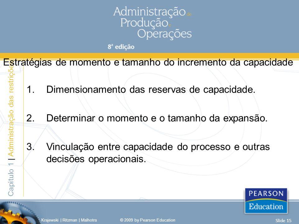1.Dimensionamento das reservas de capacidade. 2.Determinar o momento e o tamanho da expansão. 3.Vinculação entre capacidade do processo e outras decis