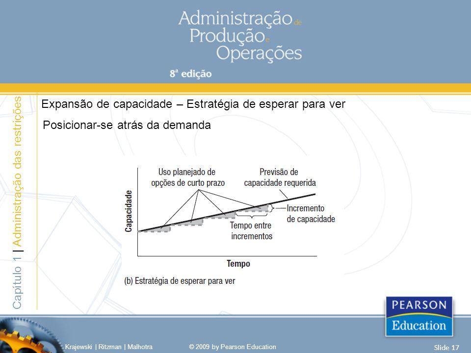 Posicionar-se atrás da demanda Krajewski | Ritzman | Malhotra© 2009 by Pearson Education Slide 17 Capítulo 1 | Administração das restrições Expansão de capacidade – Estratégia de esperar para ver