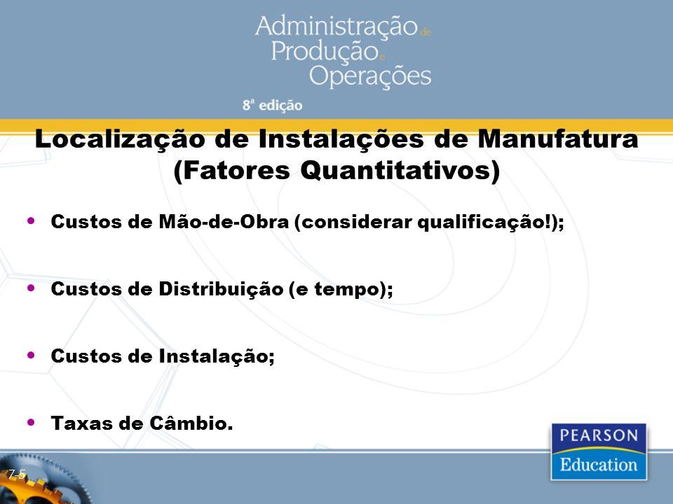 Localização de Instalações de Manufatura (Fatores Quantitativos) Custos de Mão-de-Obra (considerar qualificação!); Custos de Distribuição (e tempo); C