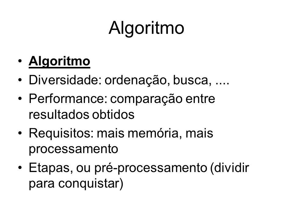 Algoritmo Diversidade: ordenação, busca,.... Performance: comparação entre resultados obtidos Requisitos: mais memória, mais processamento Etapas, ou