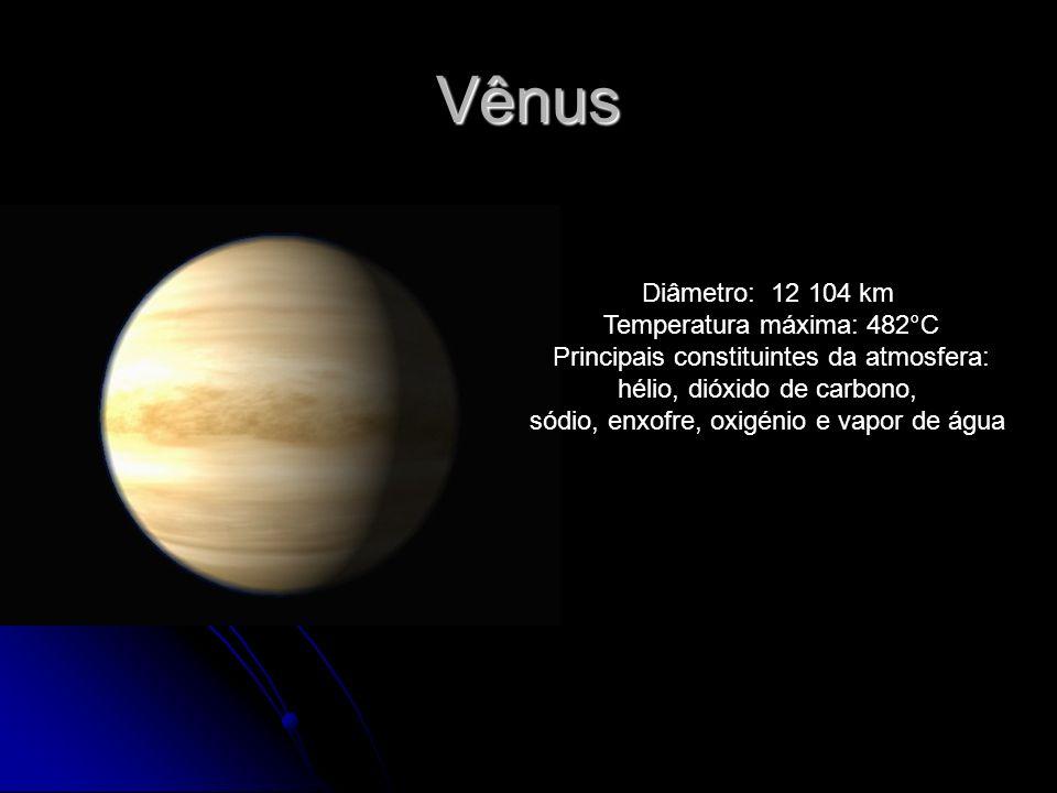 Vênus Diâmetro: 12 104 km Temperatura máxima: 482°C Principais constituintes da atmosfera: hélio, dióxido de carbono, sódio, enxofre, oxigénio e vapor