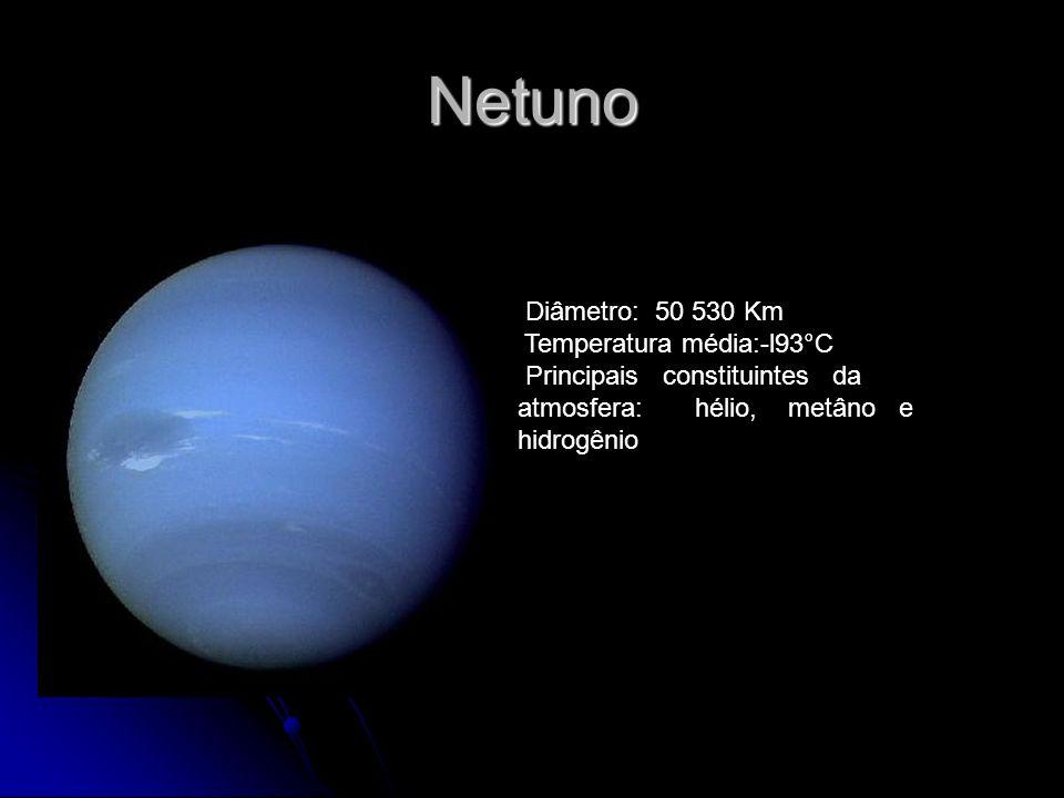 Netuno Diâmetro: 50 530 Km Temperatura média:-l93°C Principais constituintes da atmosfera: hélio, metâno e hidrogênio