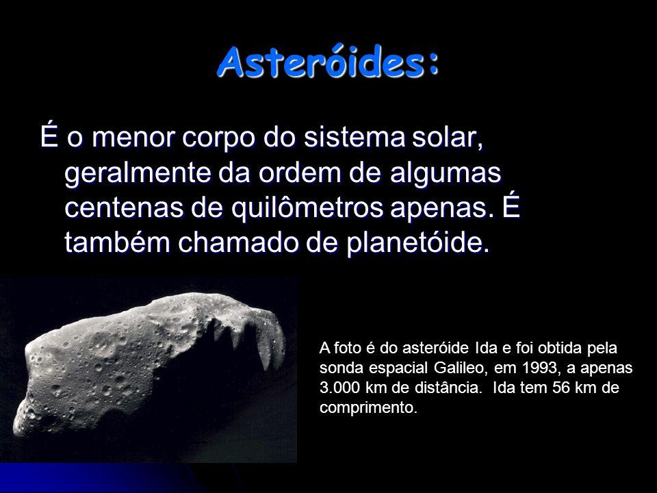 Asteróides: É o menor corpo do sistema solar, geralmente da ordem de algumas centenas de quilômetros apenas. É também chamado de planetóide. A foto é