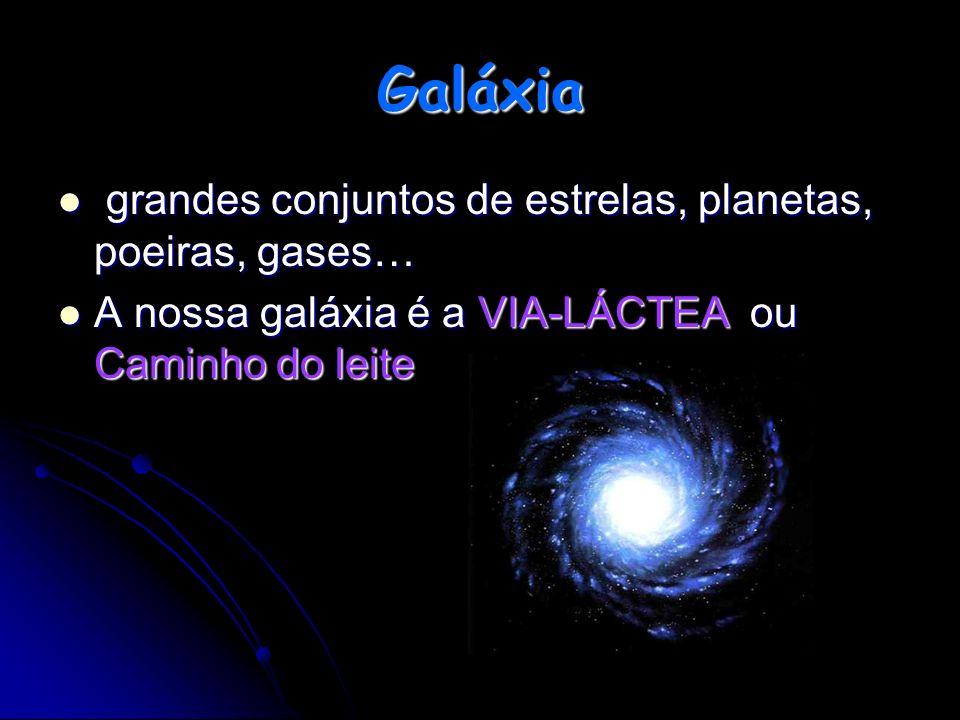 g grandes conjuntos de estrelas, planetas, poeiras, gases… A nossa galáxia é a VIA-LÁCTEA ou Caminho do leite Galáxia