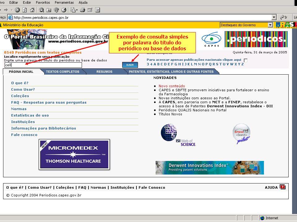 Exemplo de consulta simples por palavra do título do periódico ou base de dados