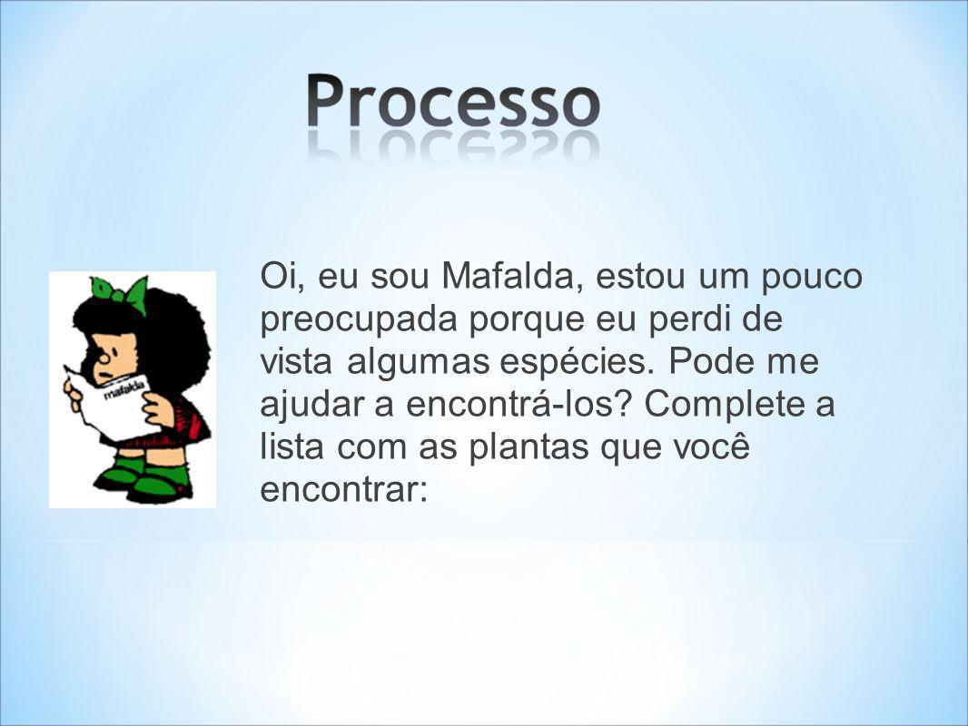 Oi, eu sou Mafalda, estou um pouco preocupada porque eu perdi de vista algumas espécies. Pode me ajudar a encontrá-los? Complete a lista com as planta