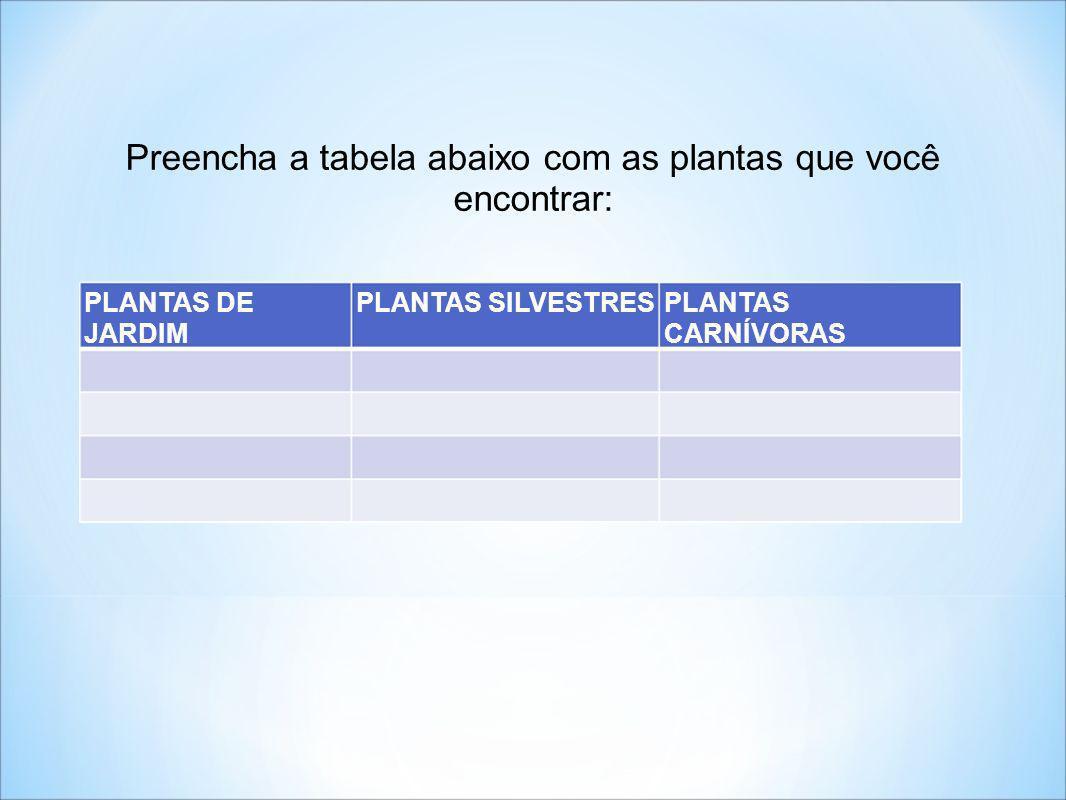 PLANTAS DE JARDIM PLANTAS SILVESTRESPLANTAS CARNÍVORAS Preencha a tabela abaixo com as plantas que você encontrar: