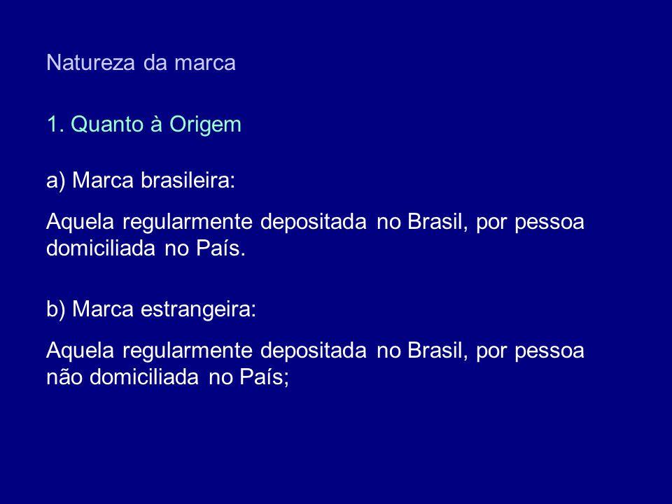 Natureza da marca 1. Quanto à Origem a) Marca brasileira: Aquela regularmente depositada no Brasil, por pessoa domiciliada no País. b) Marca estrangei