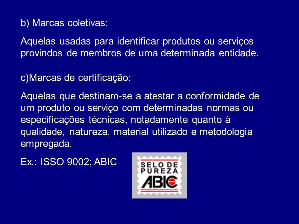 b) Marcas coletivas: Aquelas usadas para identificar produtos ou serviços provindos de membros de uma determinada entidade. c)Marcas de certificação: