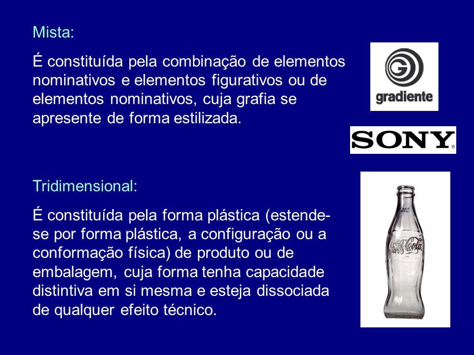 Mista: É constituída pela combinação de elementos nominativos e elementos figurativos ou de elementos nominativos, cuja grafia se apresente de forma e