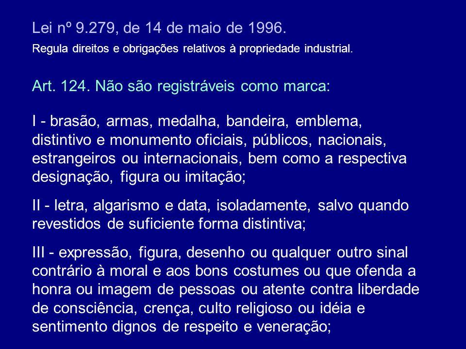 Lei nº 9.279, de 14 de maio de 1996. Regula direitos e obrigações relativos à propriedade industrial. Art. 124. Não são registráveis como marca: I - b