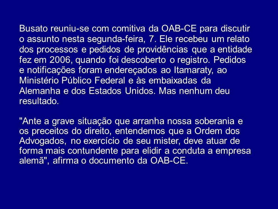 Busato reuniu-se com comitiva da OAB-CE para discutir o assunto nesta segunda-feira, 7. Ele recebeu um relato dos processos e pedidos de providências