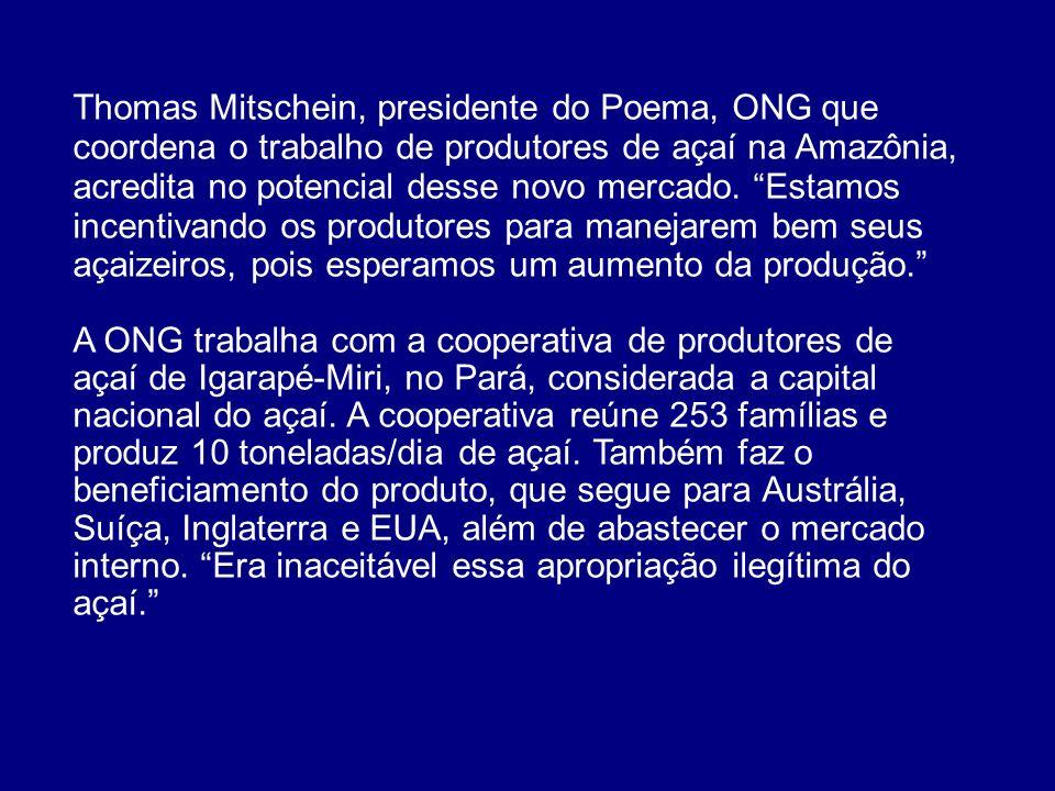 Thomas Mitschein, presidente do Poema, ONG que coordena o trabalho de produtores de açaí na Amazônia, acredita no potencial desse novo mercado. Estamo