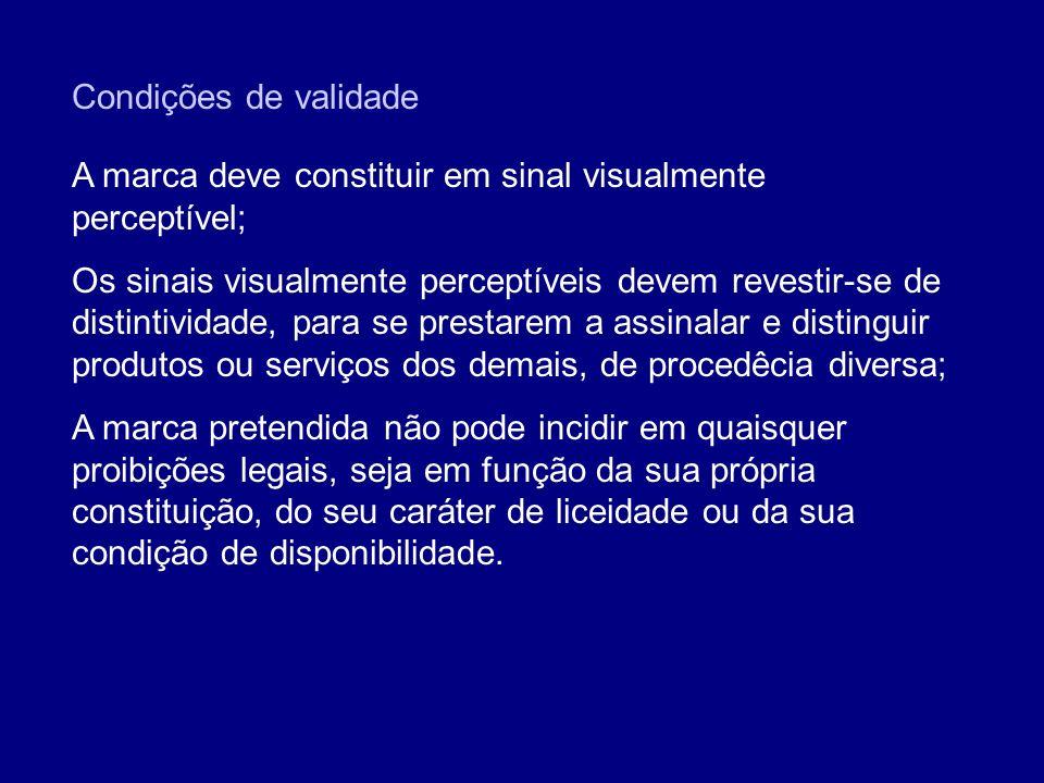 Condições de validade A marca deve constituir em sinal visualmente perceptível; Os sinais visualmente perceptíveis devem revestir-se de distintividade