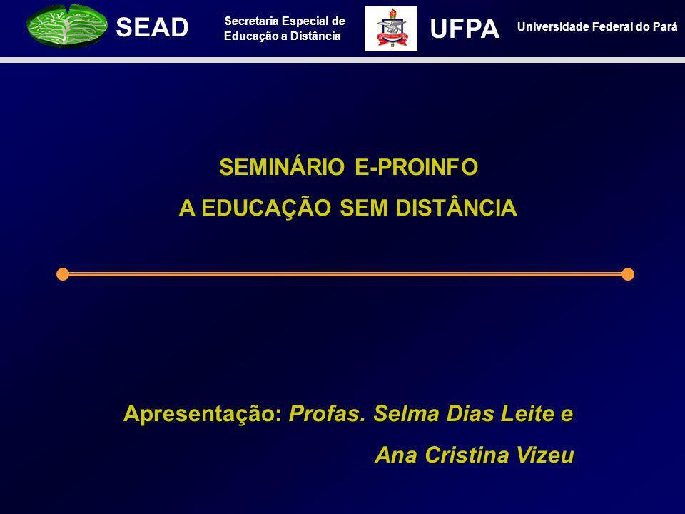 Secretaria Especial de Educação a Distância SEAD Universidade Federal do Pará UFPA SEMINÁRIO E-PROINFO A EDUCAÇÃO SEM DISTÂNCIA Apresentação: Profas.