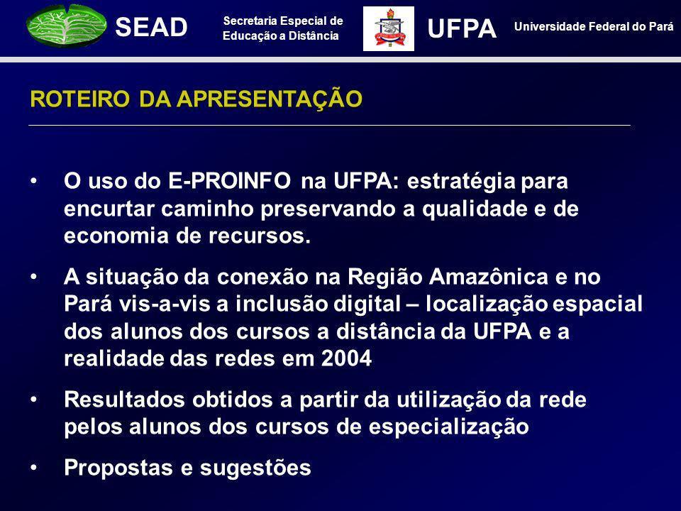 Secretaria Especial de Educação a Distância SEAD Universidade Federal do Pará UFPA ROTEIRO DA APRESENTAÇÃO O uso do E-PROINFO na UFPA: estratégia para