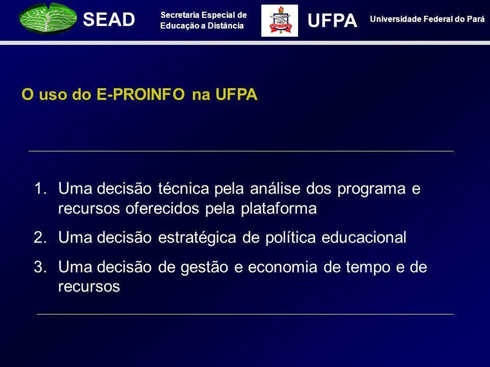 Secretaria Especial de Educação a Distância SEAD Universidade Federal do Pará UFPA O uso do E-PROINFO na UFPA 1.Uma decisão técnica pela análise dos p