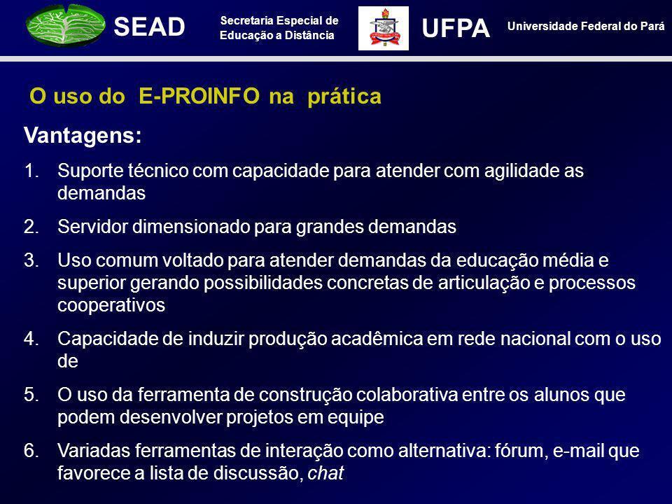 Secretaria Especial de Educação a Distância SEAD Universidade Federal do Pará UFPA O uso do E-PROINFO na prática Vantagens: 1.Suporte técnico com capa