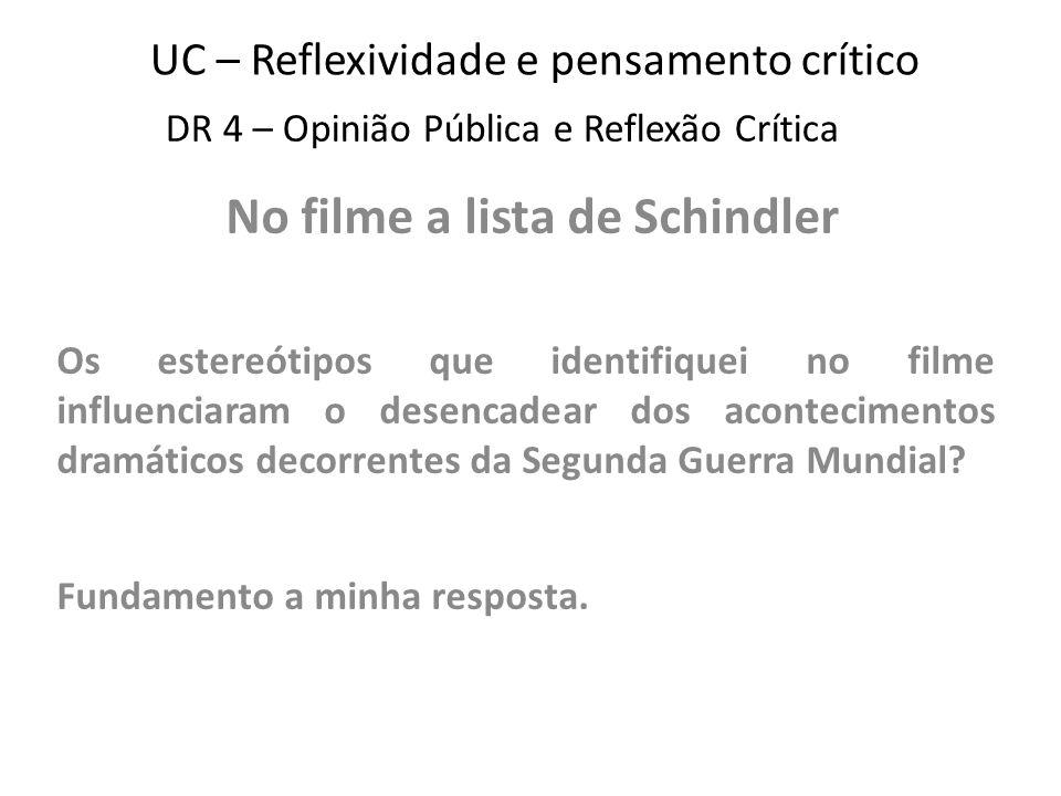 UC – Reflexividade e pensamento crítico No filme a lista de Schindler Os estereótipos que identifiquei no filme influenciaram o desencadear dos acontecimentos dramáticos decorrentes da Segunda Guerra Mundial.